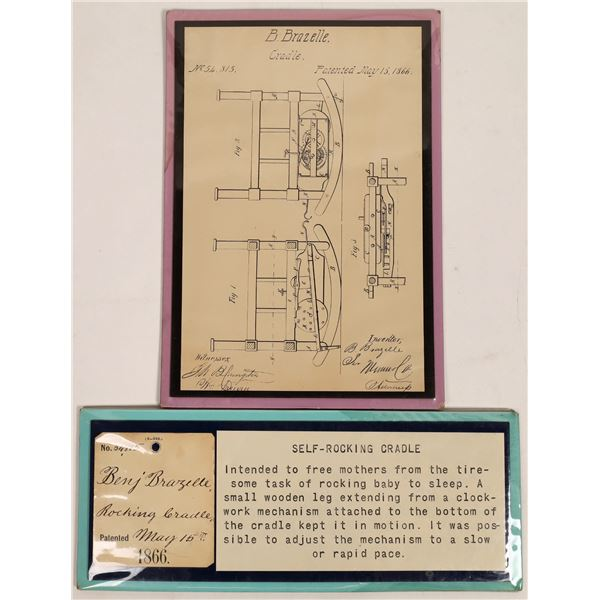 Patent Description and Drawings for the Brazelle Self-Rocking Cradle 1866   [132937]