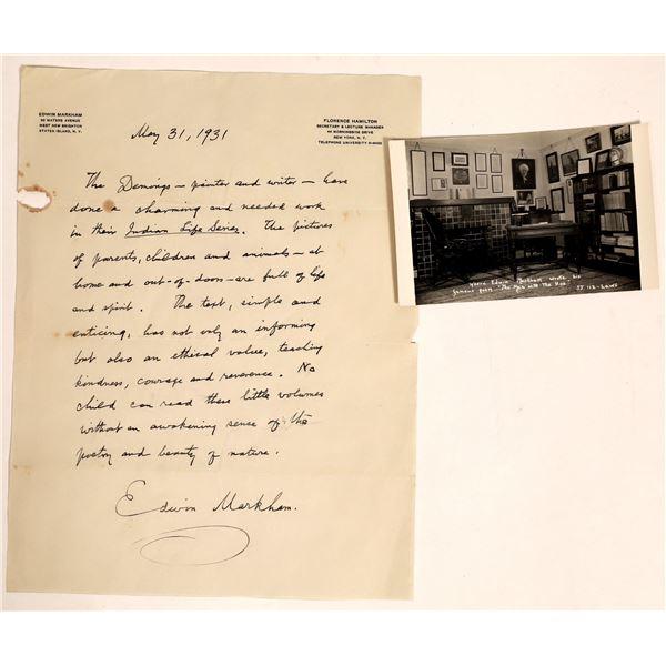 Personal Hand-Written Letter by Edwin Markham Poet  [132848]
