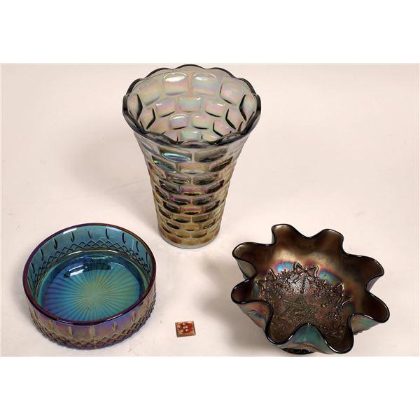 Dark Carnival Pressed Glass Trio  [131590]