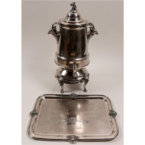 Silver Engraved Coffee Urn with Matching Tray  [106385]