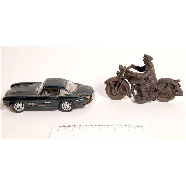 Vintage Hubley cast toy PATROL motorcycle and 300SL  Mercedes/B  [129673]