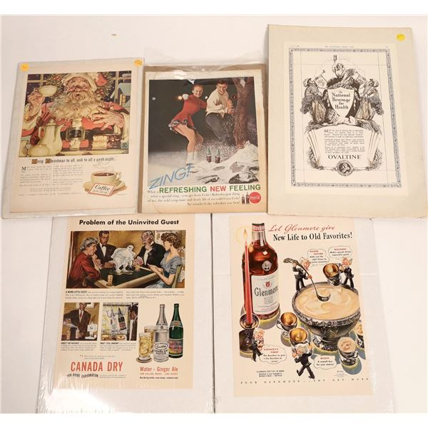 Five Full-Page 1930s-60s Magazine Original Beverage Advertisements  [126999]