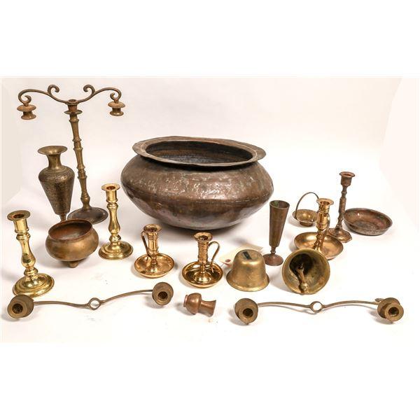 Assorted Brass & Copper Candlesticks Etc. (18)  [131854]