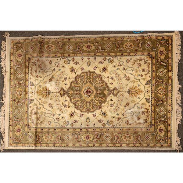 "Persian Style Floor Rug, 90 x 63"", Olive Tones  [124477]"