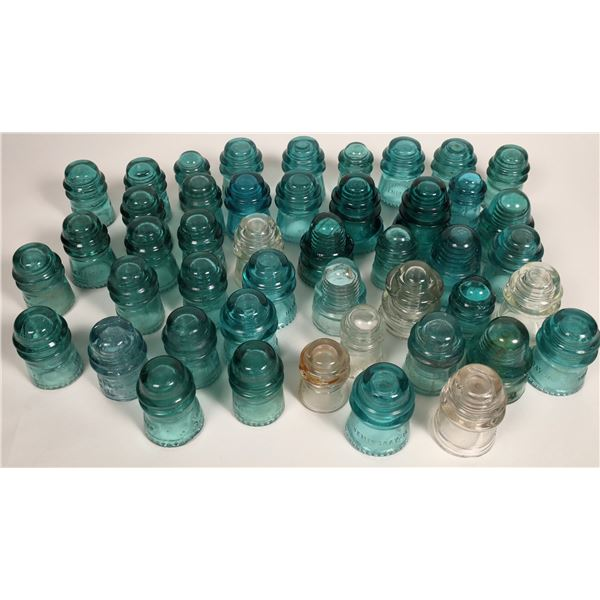 Glass Insulators, Hemingray and Other, Blue - 36, Clear - 6  [133725]