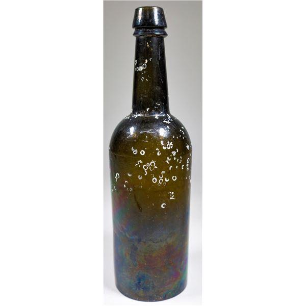 Pontil Black Glass Applied Top Whiskey Bottle, Treasure Find  [132471]