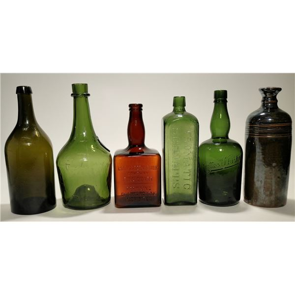 Group of Six Schnapps, Whiskey, Bitters Bottles  [119657]