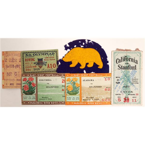 California 1930s Sporting Events Ticket Group (6 Items)  [132253]