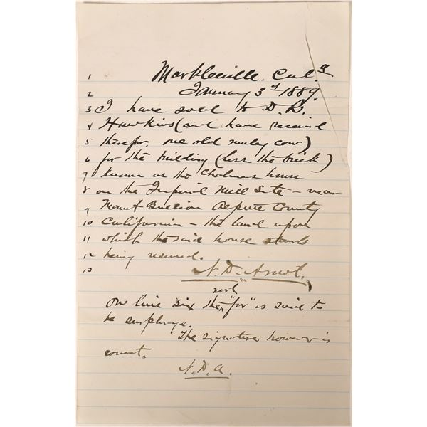 Handwritten Property Transfer 1889 Markleville  [129328]