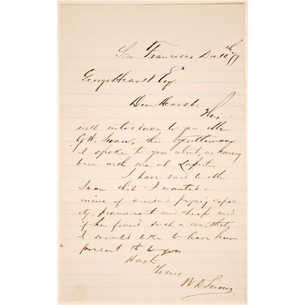 Letter about GW Swan from WD Snow to George Hearst  [135449]