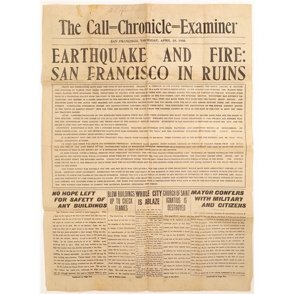 San Francisco Earthquake and Fire Newspaper April 19, 1906  [132098]