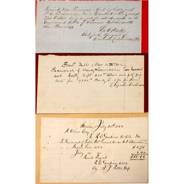 Three Early Hand Written Receipts  [135444]