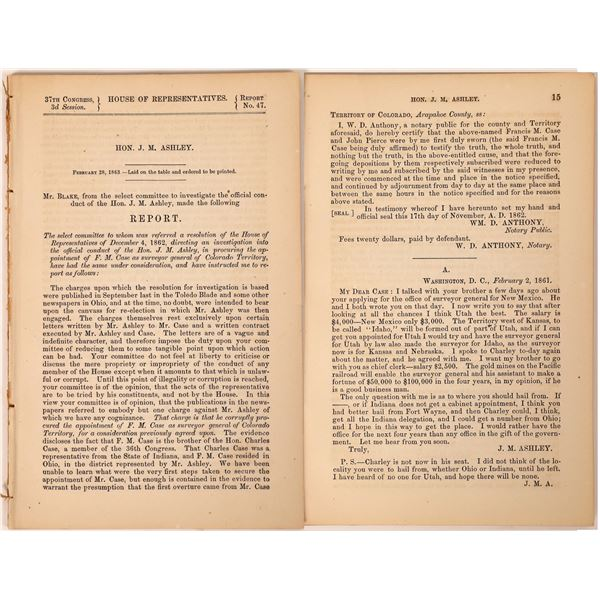 Investigation of Hon. J. M. Ashley, 1863, Colorado Territory  [131835]