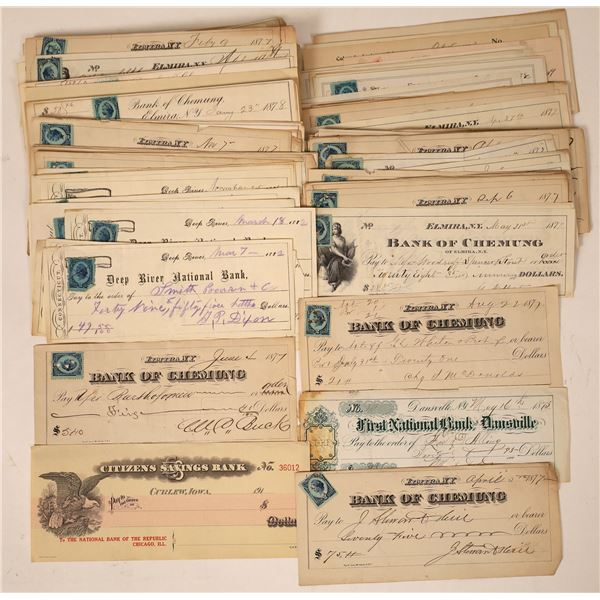 Large Group of Checks, Mostly Elmira New York  [130096]