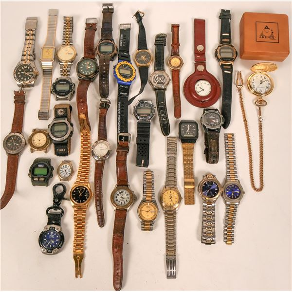 Vintage Mens Watches with linked and leather bands (lot 28)  [135541]