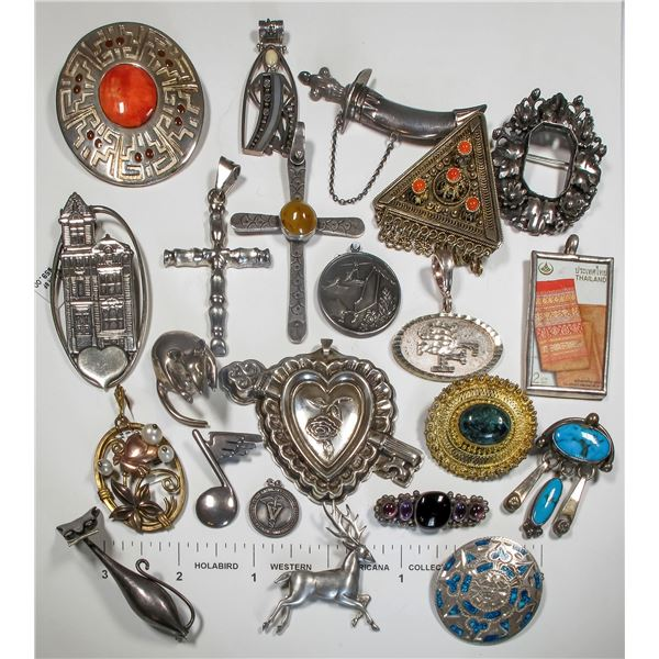 Large Group of Silver Pendants/Pins  [124873]