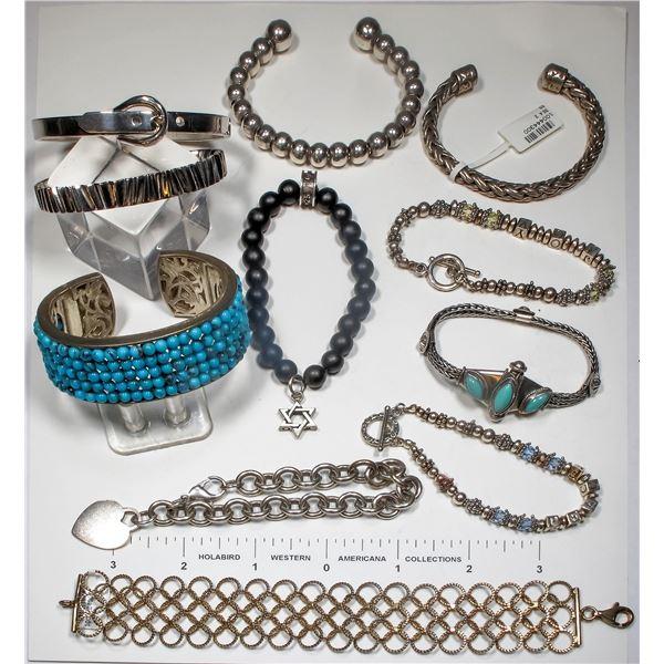 Lot of 11 Silver Bracelets  [124857]