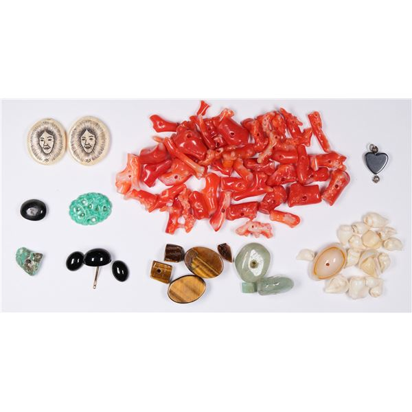 Opal, Tiger's Eye, Jade, Onyx,  and Coral Beads and Stones - Jeweler's Lot  [132244]