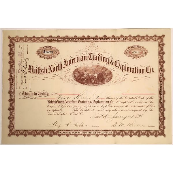 British North American Trading & Exploration Company Stock Certificate  [132126]