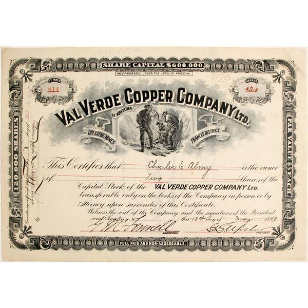 Val Verdi Copper Company Ltd. Stock Certificate  [135443]