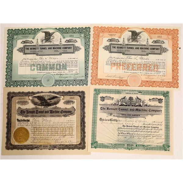 Bennett Tunnel and Machine Company Stock Certificates  [132127]