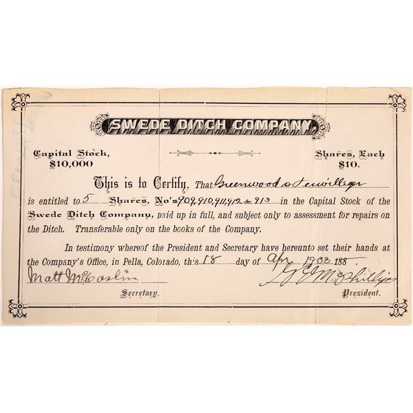Swede Ditch Company Stock Certificate  [132069]