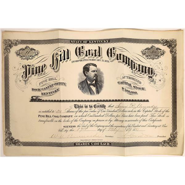 Pine Hill Coal Company Stock, Kentucky, 1881  [118370]