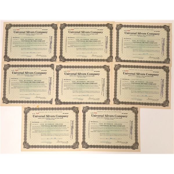 Universal Silvers Company Certificates  [131815]