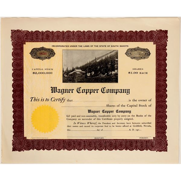 Wagner Copper Company Stock with Picture Vignette  [135400]