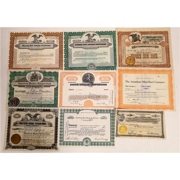 Mining Products Company Stock Certificates  [132130]