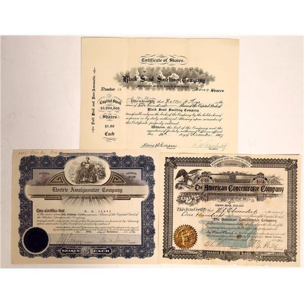 Smelting, Concentrating & Amalgamating Stock Certificates  [132129]