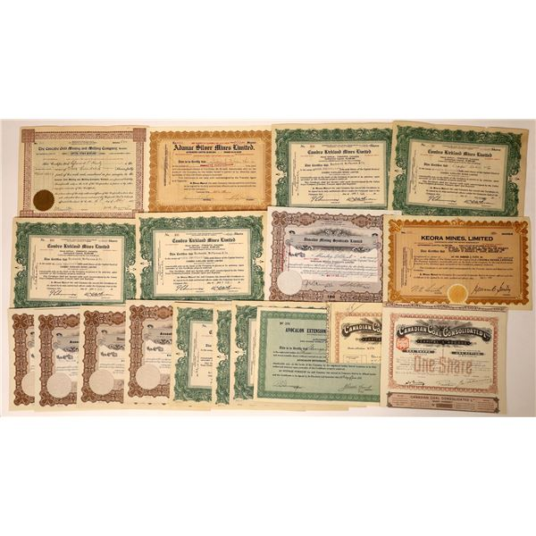 Canadian Mining Stock Certificates (19)  [129556]