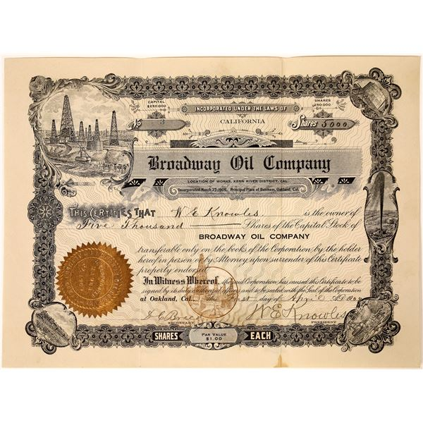 Broadway Oil Stock, Kern River District Signed by W.E. Knowles, Notable Oakland Businessman  [111844