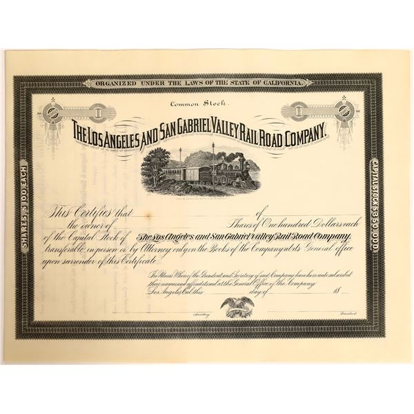 Los Angeles & San Gabriel Valley Railroad Company Stock  [111871]