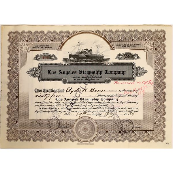 Los Angeles Steamship Co Stock Certificate  [111896]