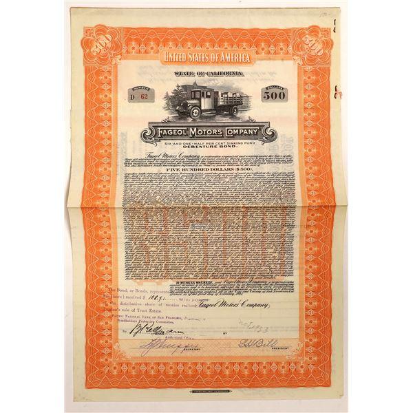 Fageol Motors Company Bond Certificate, 1928  [111863]