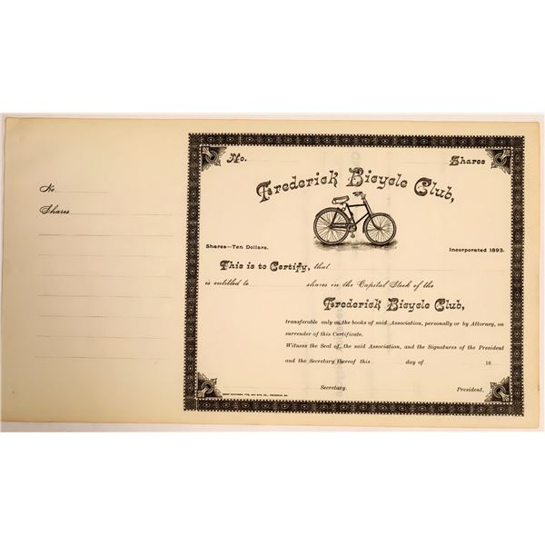Frederick Bicycle Club Stock Certificate  [111870]