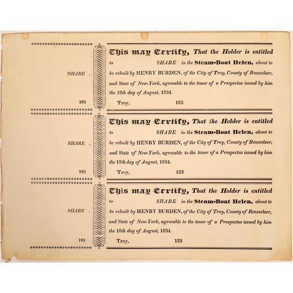 Steam-Boat Helen, Unused Sheet of Stock Certificates  [134144]