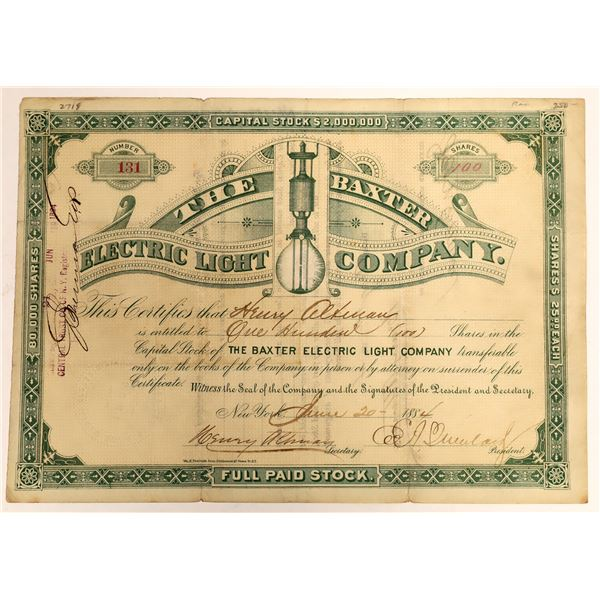 Baxter Electric Light Company Stock Certificate, New York  [118373]