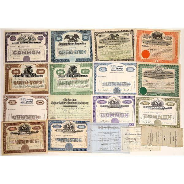Aluminum/Brass/Tin/Tungsten Corporations Stock Certifcates  [132099]