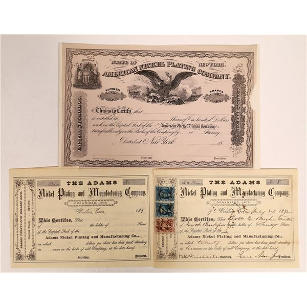 Nickel Plating Company Stock Certificates  [132128]