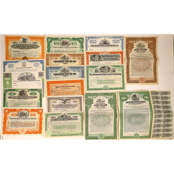 Steel Companies Stock Certificates and Bonds with Great Vignettes (17)  [127607]