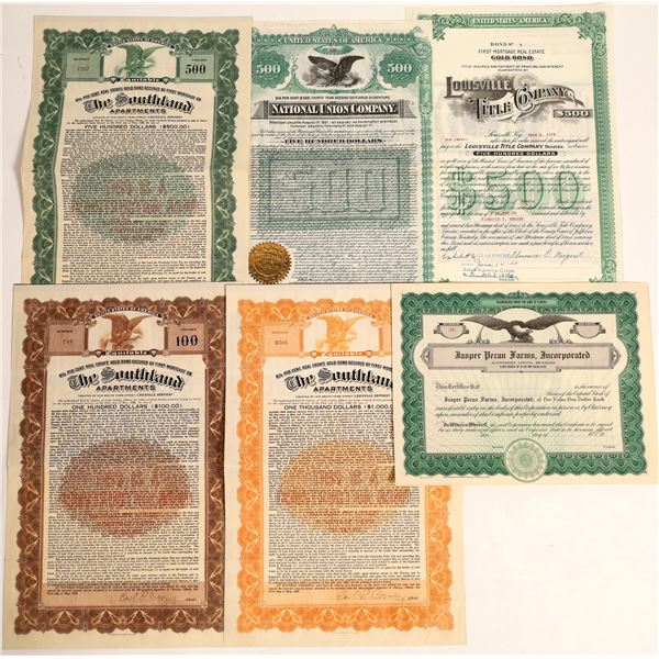 Real Estate Gold Bond Certificates Lot of 6  [130216]