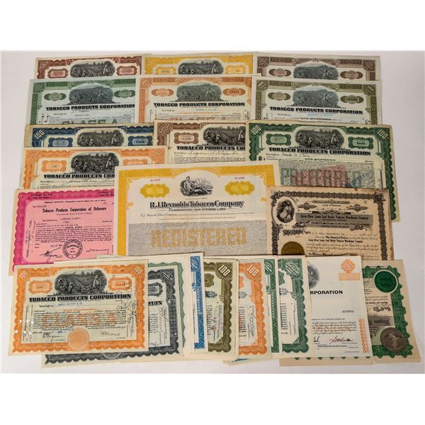 Large Group of Tobacco Company Stock Certificates  [135411]