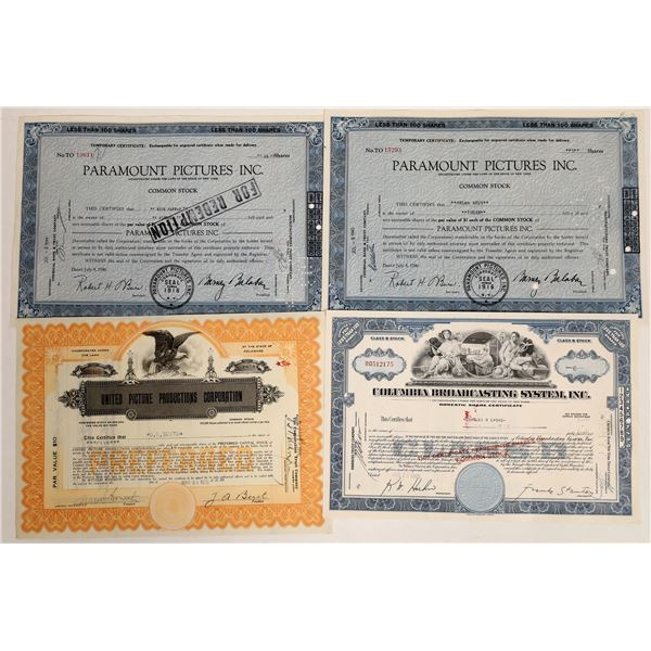 Motion Picture Production Company Stock Certificates  [132079]