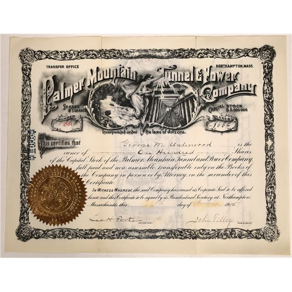 Palmer Mountain Tunnel & Power Company Stock Certificate  [132125]