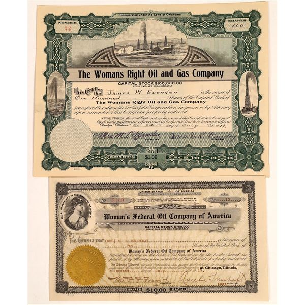 Woman's Oil Company Stock Certificates  [132103]