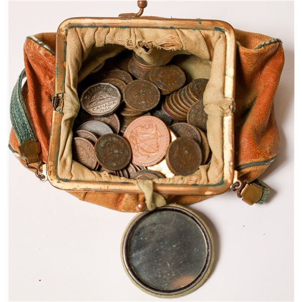 Old Time Coin Purse Full of Coins  [126097]