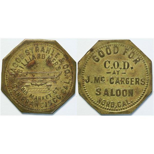 J. McCargers Saloon, Nord, Cal Token  [135477]