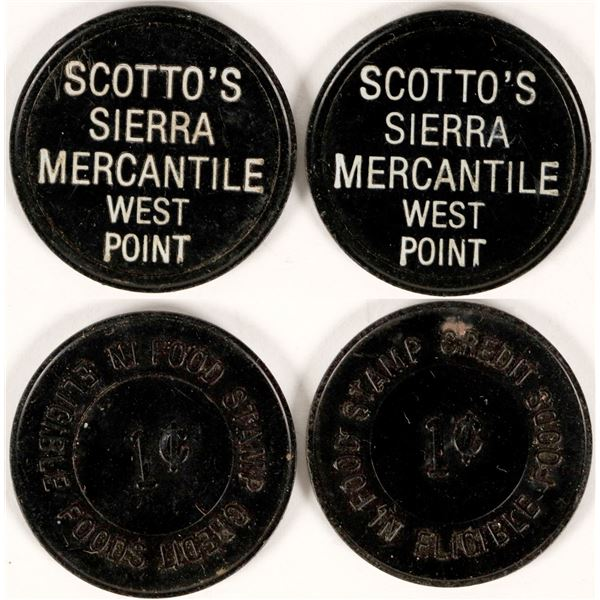 Scotto's Sierra Mercantile, West Point, Cal Tokens (2)  [135473]